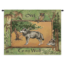 Gray Wolf by Anita Phillips | Woven Tapestry Wall Art Hanging | Stark Rustic Forest Artwork with Owl | 100% Cotton USA Size 34x26 Wall Tapestry