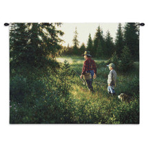 Good Times | Woven Tapestry Wall Art Hanging | Fishing Recreation Father Son Green | 100% Cotton USA Wall Tapestry