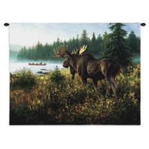 In His Domain By Robert Duncan | Woven Tapestry Wall Art Hanging | Large Bull Moose Stands Quietly On Bank Of Lake | Wildlife Artwork | 100% Cotton USA Wall Tapestry