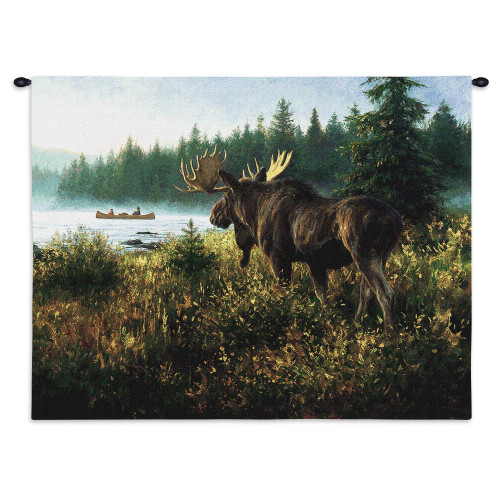 Pure Country Weavers - In His Domain Moose Hand Finished European Style Jacquard Woven Wall Tapestry. USA Size 26x34 Wall Tapestry