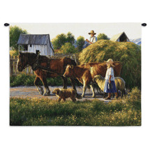 Passing Parade By Robert Duncan | Woven Tapestry Wall Art Hanging | Father Drives The Wagon Full Of Hay Little Girl Drives Farm Animals | 100% Cotton USA Wall Tapestry