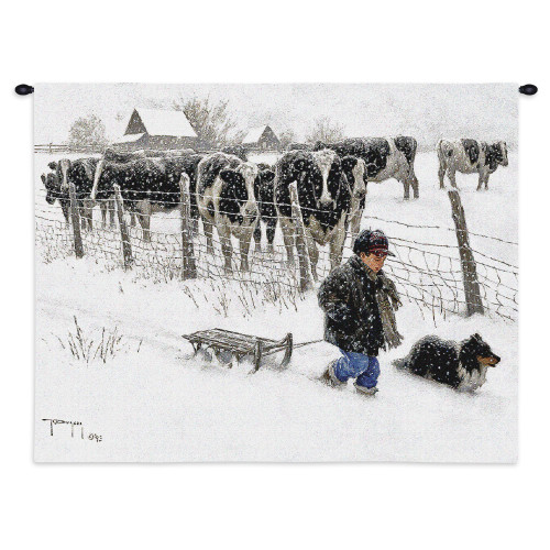 Curious Onlookers By Robert Duncan - Woven Tapestry Wall Art Hanging For Home Living Room & Office Decor - Cow Watch As A Boy And His Dog Tread Through Snow Of A Cold Country Winter - 100% Cotton - USA Wall Tapestry