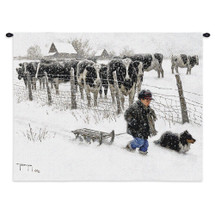 Curious Onlookers by Robert Duncan | Woven Tapestry Wall Art Hanging | Cow Watch As A Boy and His Dog Tread Through Snow of A Cold Country Winter | 100% Cotton USA Wall Tapestry