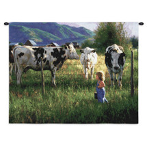 Anniken and Cows by Robert Duncan | Woven Tapestry Wall Art Hanging | A Country Girl Wearing Overalls Walks Along The Cow Fence Row | 100% Cotton USA Wall Tapestry