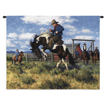 Rough Start | Woven Tapestry Wall Art Hanging | Western Cowboy Equestrian Taming Scene | 100% Cotton USA Size 34x26 Wall Tapestry