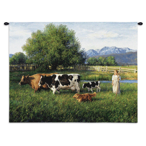 Pure Country Weavers - Country Girl Hand Finished European Style Jacquard Woven Wall Tapestry. USA Size 26x34 Wall Tapestry