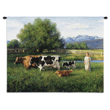 Country Girl | Woven Tapestry Wall Art Hanging | Blonde Girl With Walking Stick And Herding Dog Are Moving The Cows Towards Home | 100% Cotton USA Wall Tapestry
