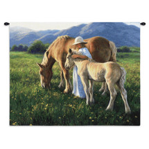 Beautiful Blondes | Woven Tapestry Wall Art Hanging | Rich Equestrian Landscape | 100% Cotton USA Size 34x26 Wall Tapestry