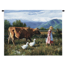 Morning Walk By Robert Duncan | Woven Tapestry Wall Art Hanging | Young Farm Girl Strolling Through A Farm Meadow With Her Animals In Tow | 100% Cotton USA Wall Tapestry