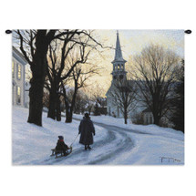 Winter's Eve | Woven Tapestry Wall Art Hanging | Mother and Child Winter Stroll near Church Steeple | 100% Cotton USA Size 34x26 Wall Tapestry
