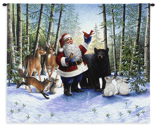 Pure Country Weavers - Santa In The Forest Hand Finished European Style Jacquard Woven Wall Tapestry. USA Size 25.5x31 Wall Tapestry