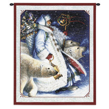 Santa and Polar Bears | Woven Tapestry Wall Art Hanging | Santa with Polar Bear Festive Christmas Decor | 100% Cotton USA Size 34x26 Wall Tapestry