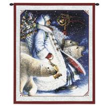 Santa And Polar Bears | Woven Tapestry Wall Art Hanging | Holiday Christmas Santa Polar Bear | 100% Cotton USA Wall Tapestry