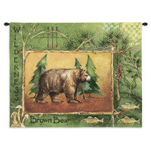 Brown Bear by Anita Phillips | Woven Tapestry Wall Art Hanging | Stark Rustic Forest Artwork with Trout and Mushrooms | 100% Cotton USA Size 34x26 Wall Tapestry