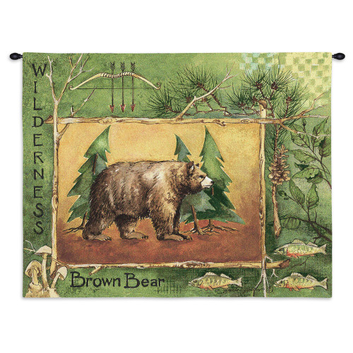 Pure Country Weavers - Brown Bear Hand Finished European Style Jacquard Woven Wall Tapestry. USA Size 26x34 Wall Tapestry