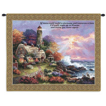 Heaven's Light by James Lee | Woven Tapestry Wall Art Hanging | Lush Seaside Lighthouse Inspirational Religious Artwork | 100% Cotton USA Size 34x26 Wall Tapestry