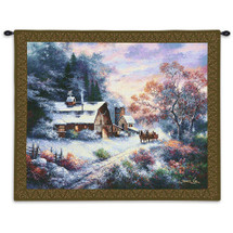 Snowy Evening by James Lee | Woven Tapestry Wall Art Hanging | Horse Drawn Sleigh at Winter Cottage Landscape | 100% Cotton USA Size 34x26 Wall Tapestry