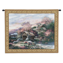 Old Mill Creek | Woven Tapestry Wall Art Hanging | Town Train Landscape Bridge Cottage | 100% Cotton USA Wall Tapestry
