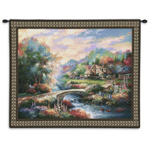 Country Bridge - Serene Dreamlike Nature Scene with Cottage - Wall Tapestry