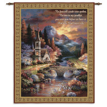 Early Service by James Lee | Woven Tapestry Wall Art Hanging | Forest Church Bridge Landscape Inspirational Religious Poetry | 100% Cotton USA Size 34x26 Wall Tapestry