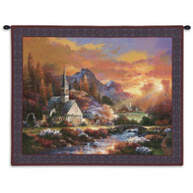 Morning of Hope by James Lee | Woven Tapestry Wall Art Hanging | Majestic Countryside Sunrise at Church Steeple | 100% Cotton USA Size 34x26 Wall Tapestry