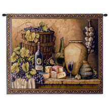 Wine Tasting - Still Life Of Grapes And Cheese That Complement A Bottle Of Wine. A Detailed And Colorful Scene For Any Longe Wine Cellar Or Den Decor - Woven Tapestry Wall Art Hanging - 100% Cotton - USA Wall Tapestry