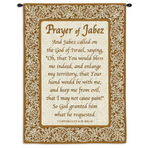 Prayer Of Jabez By | Woven Tapestry Wall Art Hanging | Biblical Religious Prayer Features A Lovely Script With Bordered Intricate Scroll | 100% Cotton USA Wall Tapestry
