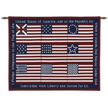 Pledge | Woven Tapestry Wall Art Hanging | American Pledge of Allegiance Patriotic Flag Artwork | 100% Cotton USA Size 34x26 Wall Tapestry