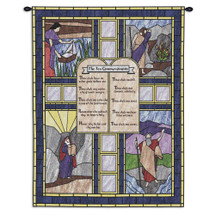 Ten Commandments Stained Glass | Woven Tapestry Wall Art Hanging | Biblical Doctrine on Rich Jewel Toned Stained Glass Religious Scenes | 100% Cotton USA Size 34x26 Wall Tapestry