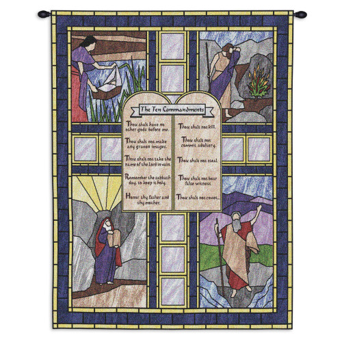Ten Commandments Stained Glass - Woven Tapestry Wall Art Hanging For Home Living Room & Office Decor - Ten Commandments Beautifully Rendered Rich Jewel Toned Stained Glass Backdrop Religious - 100% Cotton - USA Wall Tapestry
