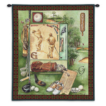 Quiet | Woven Tapestry Wall Art Hanging | Vintage Golf Collage on Course Green | 100% Cotton USA Size 34x26 Wall Tapestry