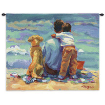 Treasured Moment by Lucelle Raad | Woven Tapestry Wall Art Hanging | Precious Father Son Beach Scene with Dog | 100% Cotton USA Size 36x27 Wall Tapestry
