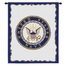 Navy | Woven Tapestry Wall Art Hanging | Patriotic US Military Logo | 100% Cotton USA Size 34x26 Wall Tapestry