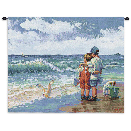 Summer Daze By Lucelle Raad | Woven Tapestry Wall Art Hanging | Blue Children Sand Beach Sea Seashore Ocean Shore Coastal Puppy | 100% Cotton USA 26x36 Wall Tapestry