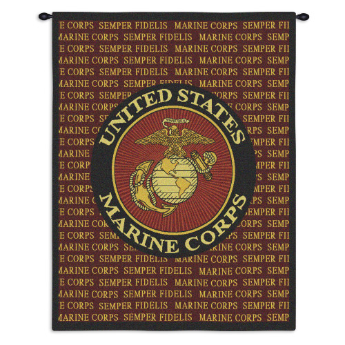 Pure Country Weavers - Semper Fi Marine Corp Hand Finished European Style Jacquard Woven Wall Tapestry. USA Size 34x26 Wall Tapestry