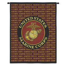 Semper Fi Marine Corp | Woven Tapestry Wall Art Hanging | US Armed Forces Logo Patriotic Artwork | 100% Cotton USA Size 34x26 Wall Tapestry