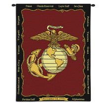 Pure Country Weavers - Marine Corp Battles Hand Finished European Style Jacquard Woven Wall Tapestry. USA Size 34x26 Wall Tapestry