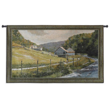 Summer Memories | Woven Tapestry Wall Art Hanging | Rustic Country Landscape Art of River Barn Cows and Mountain Hillside | 100% Cotton USA 26X44 Wall Tapestry