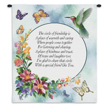 Circle of Friendship   Woven Tapestry Wall Art Hanging   Charming Sentimental Poem with Pastel Flowers   100% Cotton USA Size 34x26 Wall Tapestry