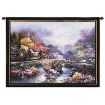 Going Home by James Lee | Woven Tapestry Wall Art Hanging | Cobblestone Bridge through Lush Vibrant Stream | 100% Cotton USA Size 34x26 Wall Tapestry