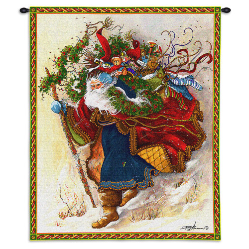 Pure Country Weavers - Windswept Santa Hand Finished European Style Jacquard Woven Wall Tapestry. USA Size 34x26 Wall Tapestry