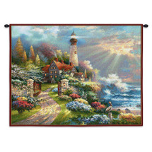 Coastal Splendor | Woven Tapestry Wall Art Hanging | Colorful Cottage Lighthouse Scene | 100% Cotton USA Size 34x26 Wall Tapestry