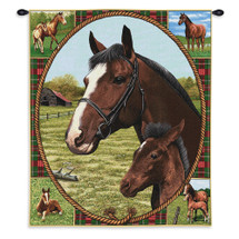 Thoroughbred Mare And Foal | Woven Tapestry Wall Art Hanging | Horses Are Surrounded By A Lovely Plaid As Well As Image Of Field And Horseshoes | 100% Cotton USA Wall Tapestry