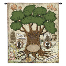 The Family | Woven Tapestry Wall Art Hanging | Family Tree Ancestor Collage | 100% Cotton USA Size 34x26 Wall Tapestry