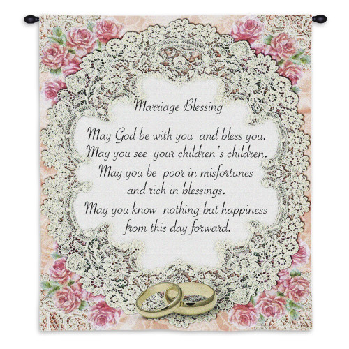 Marriage Blessing II | Woven Tapestry Wall Art Hanging | Inspirational Wedding Gift with Roses | 100% Cotton USA Size 34x26 Wall Tapestry