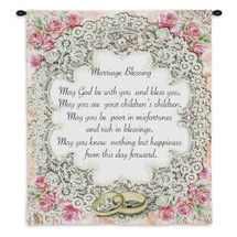 Pure Country Weavers - Marriage Blessing Perfect Wedding Gift Hand Finished European Style Jacquard Woven Wall Tapestry. USA 26X34 Wall Tapestry