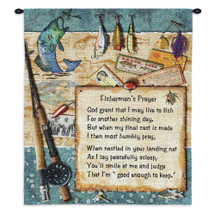 Fisherman's Prayer | Woven Tapestry Wall Art Hanging | Inspirational Religious Poetry amongst Fishing Gear | 100% Cotton USA Size 34x26 Wall Tapestry
