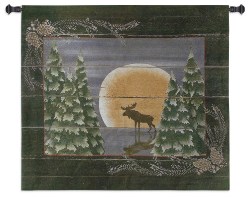 Pure Country Weavers | Moonlight Moose Hand Finished European Style Jacquard Woven Wall Tapestry. USA 26X34 Wall Tapestry