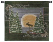 Moonlight Moose | Woven Tapestry Wall Art Hanging | Whimsical Forest Wildlife in Lunar Light Cabin Lodge Decor | 100% Cotton USA Size 34x26 Wall Tapestry