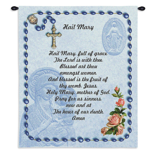 Pure Country Weavers - Hail Mary Prayer Rosary Beads Hand Finished European Style Jacquard Woven Wall Tapestry. USA 26X34 Wall Tapestry